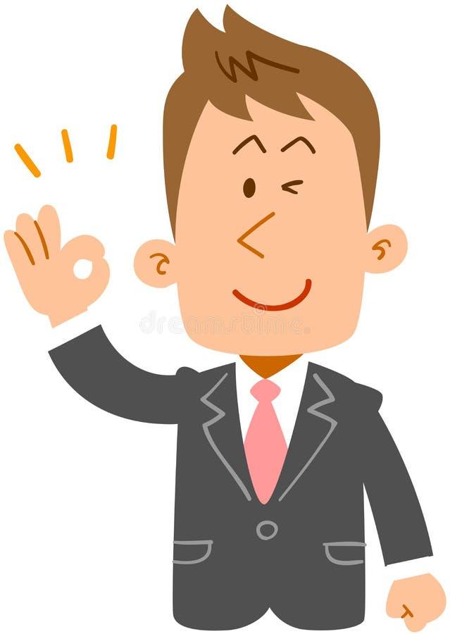 Hombre de negocios joven que muestra la intención de aprobar el cuerpo superior del _ stock de ilustración