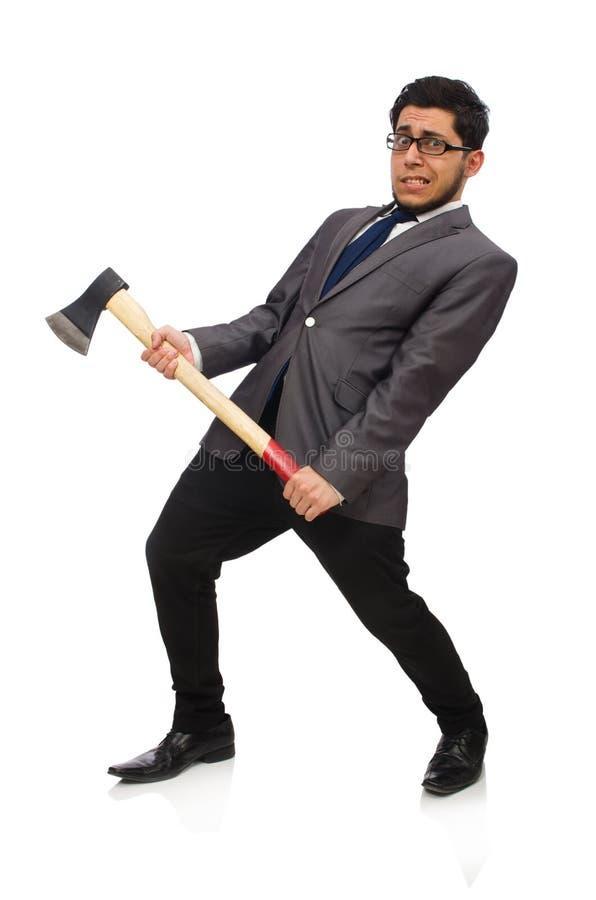 Hombre de negocios joven que sostiene una herramienta aislada en blanco imagen de archivo