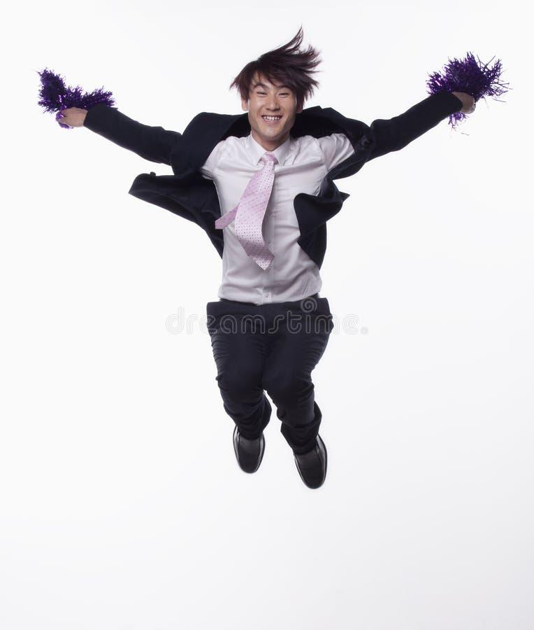 Hombre de negocios Jumping y el animar fotografía de archivo