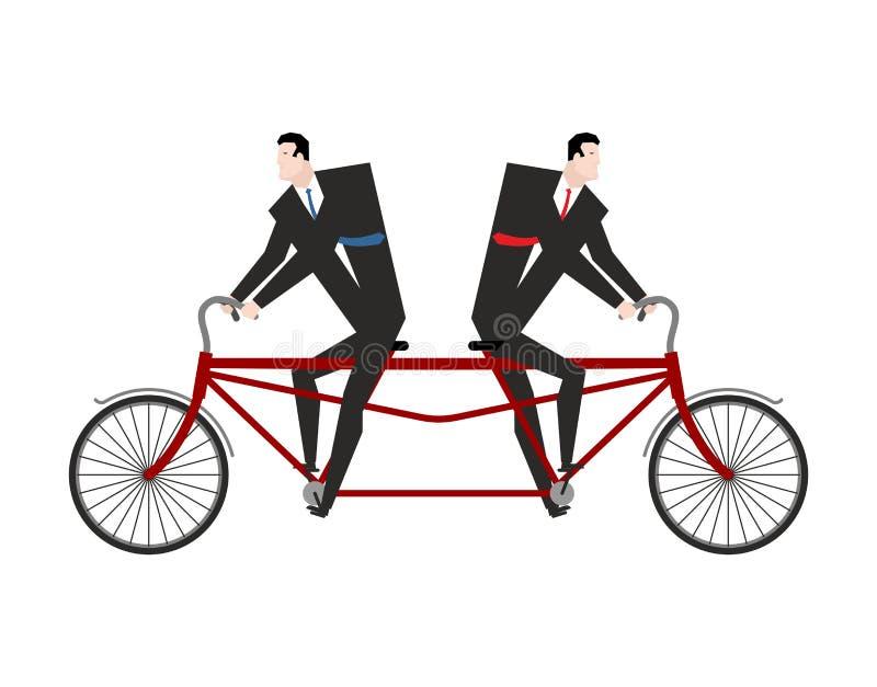 Hombre de negocios de la competencia en paseo en tándem de la bicicleta en diverso calamitoso ilustración del vector