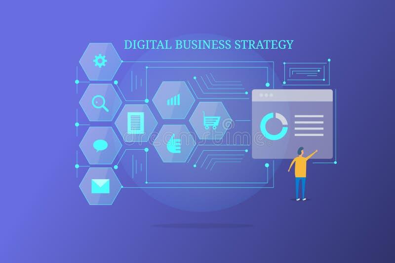 Hombre de negocios de la estrategia de negocio de Digitaces que analiza datos y la información del márketing stock de ilustración