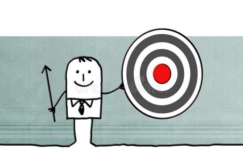 Hombre de negocios de la historieta con la flecha y la blanco stock de ilustración