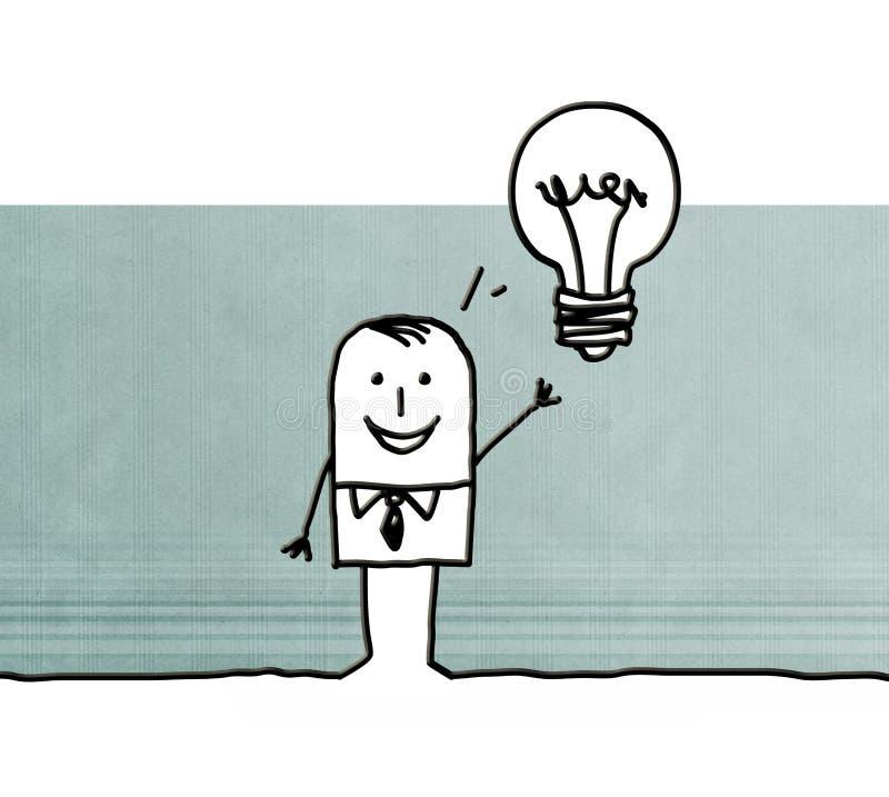 Hombre de negocios de la historieta con idea y la bombilla libre illustration