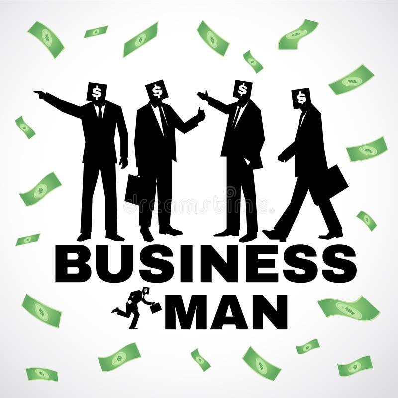 Hombre de negocios - la muestra de dólar de la cabeza del hombre del traje y el vector negros del dinero diseñan stock de ilustración