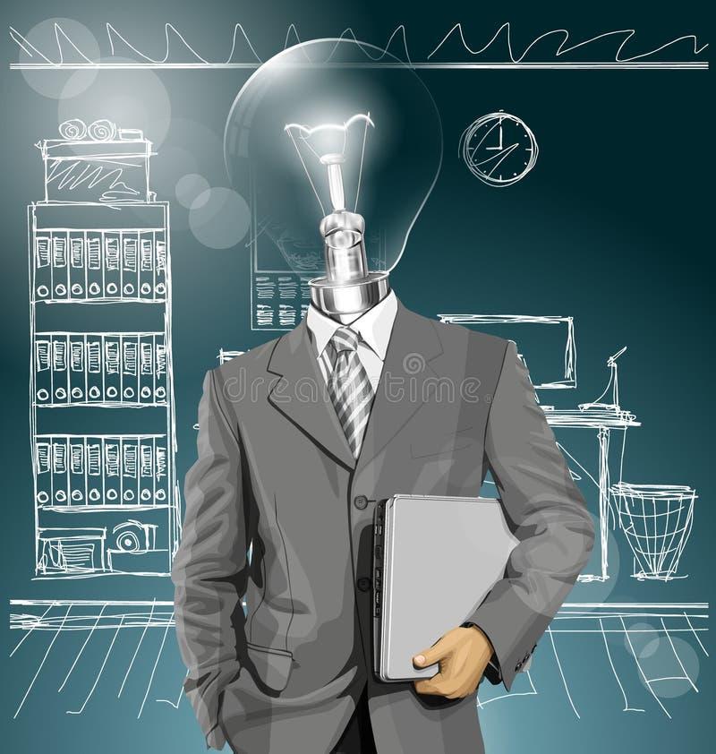Download Hombre De Negocios With Laptop De La Cabeza De La Lámpara Del Vector Ilustración del Vector - Ilustración de varón, feliz: 42433931