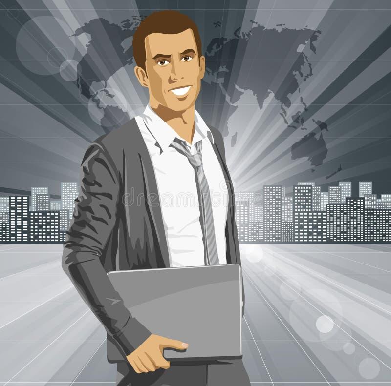 Download Hombre De Negocios With Laptop Del Vector Ilustración del Vector - Ilustración de fashionable, ocasional: 42433730