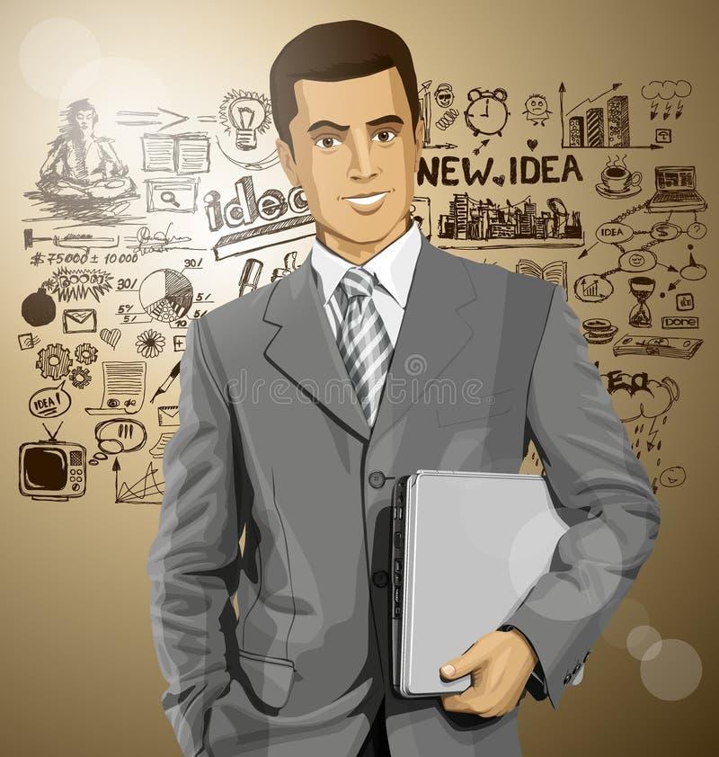 Download Hombre De Negocios With Laptop Del Vector Ilustración del Vector - Ilustración de empresario, negocios: 42434198