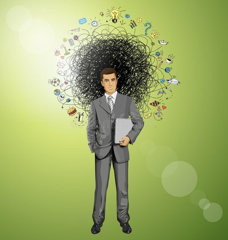 Hombre de negocios With Laptop del vector libre illustration