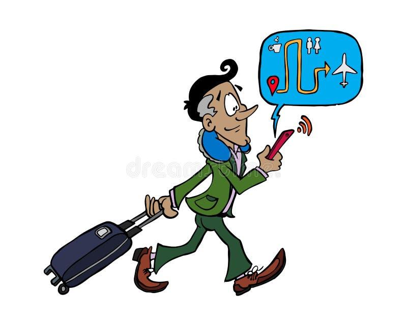 Hombre de negocios latino joven que camina dentro del aeropuerto libre illustration