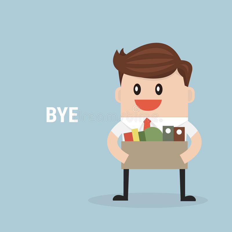 Hombre de negocios Leaving Job, vector, diseño plano fotografía de archivo