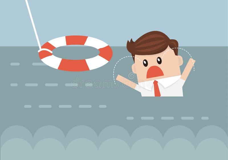 Hombre de negocios With Life Preserver, estilo plano del diseño del illustion del vector libre illustration