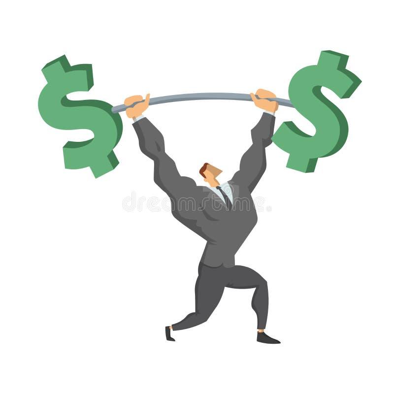 Hombre de negocios Lifting Up Barbell con la muestra de dólar Carácter del negocio, símbolo del éxito y confianza en sí mismo Con stock de ilustración