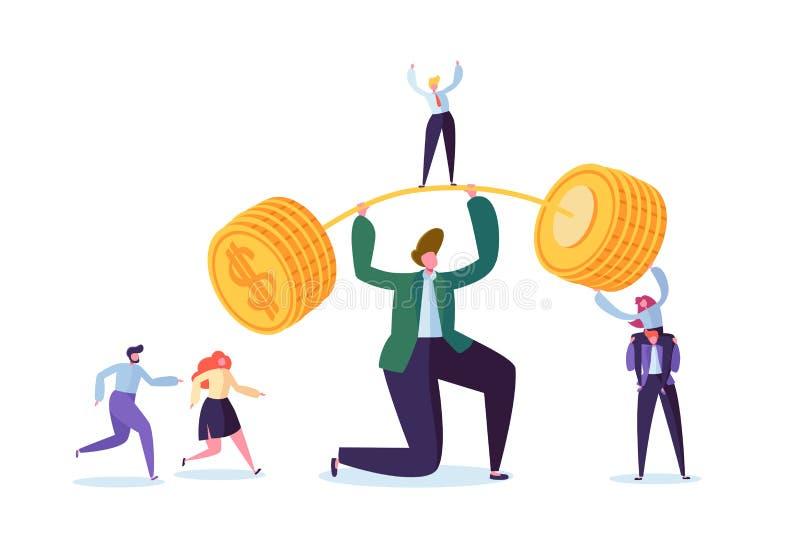 Hombre de negocios Lifting Up Barbell con las monedas de oro Éxito financiero Team Work Concept Logro del negocio que hace el din ilustración del vector