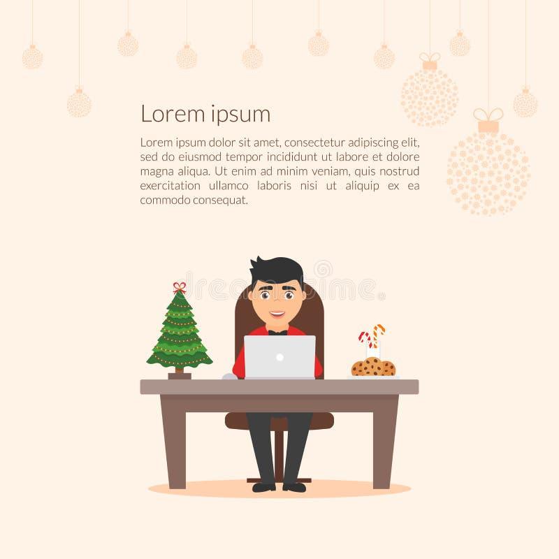 Hombre de negocios lindo del personaje de dibujos animados Feliz Navidad y Feliz Año Nuevo libre illustration