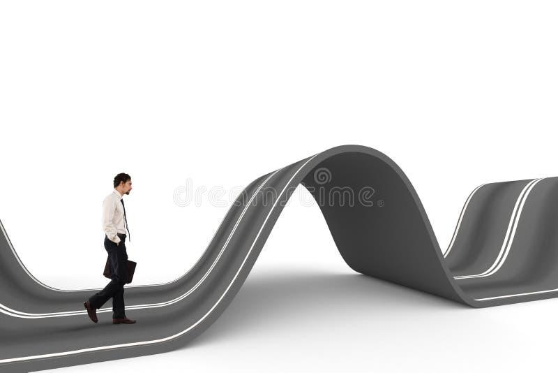 Hombre de negocios listo para comenzar en un camino complicado Concepto de desafío foto de archivo