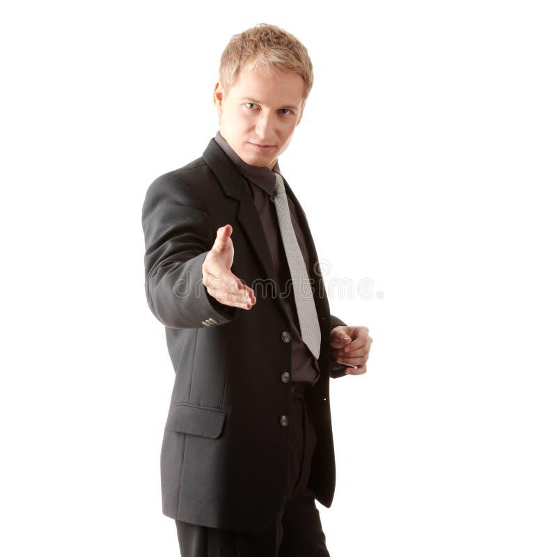 Hombre de negocios listo para fijar un reparto imagen de archivo