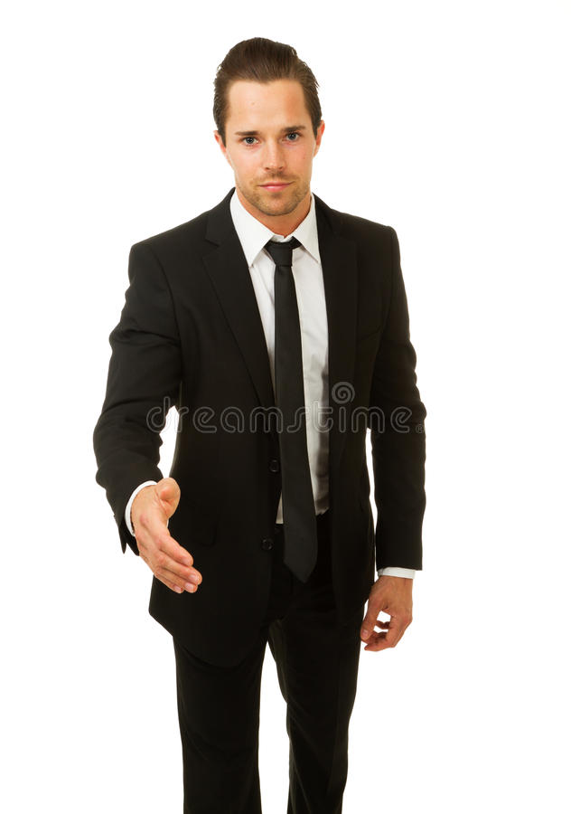 Hombre de negocios listo para sacudir las manos foto de archivo libre de regalías