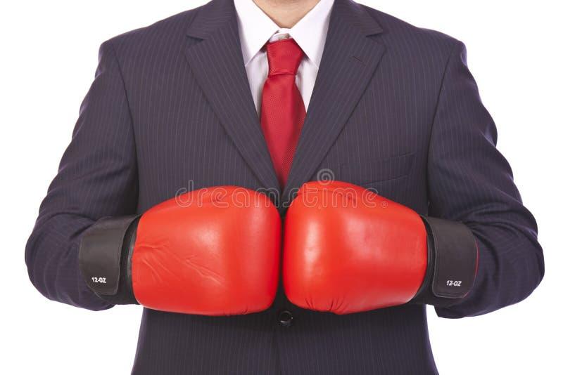 Hombre de negocios listo para una lucha imagenes de archivo