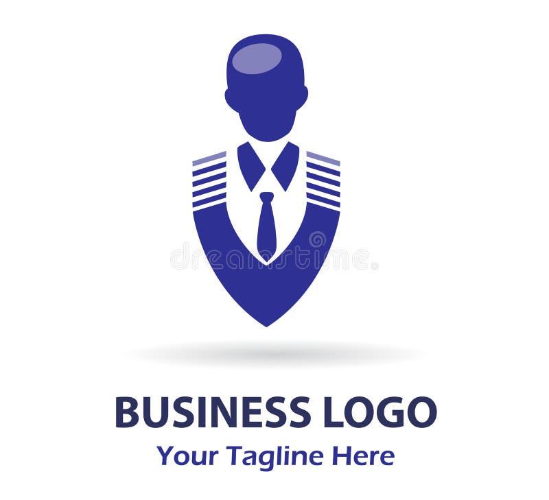 Hombre de negocios, LOGOTIPO, logotipo espeso superior del retrato, icono masculino ilustración del vector