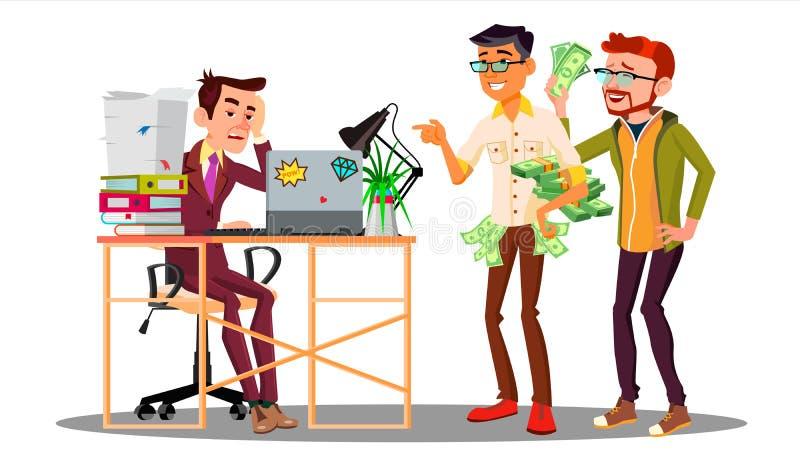 Hombre de negocios Loser With a la pila de documentos al lado de colegas de risa con vector del dinero Ilustración aislada libre illustration