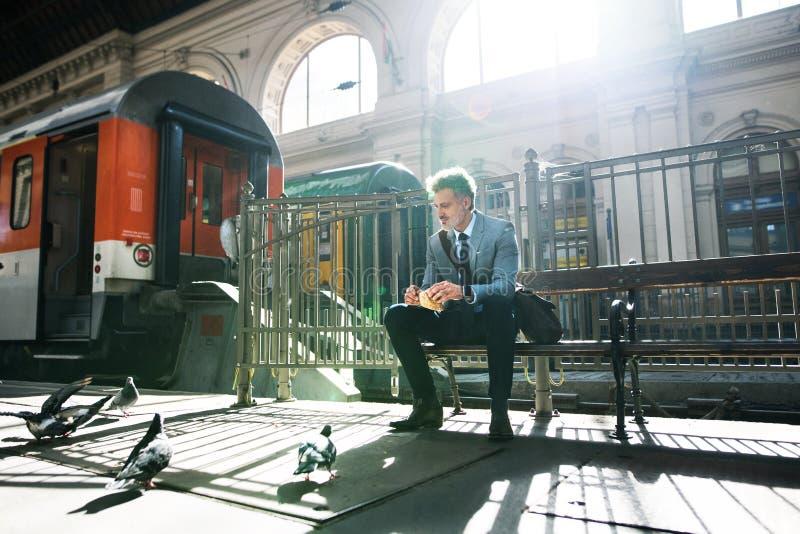 Hombre de negocios maduro en una estación de tren fotos de archivo libres de regalías