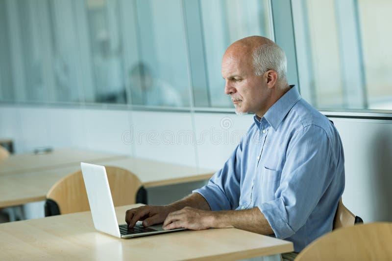 Hombre de negocios maduro que trabaja en la computadora port?til fotografía de archivo libre de regalías