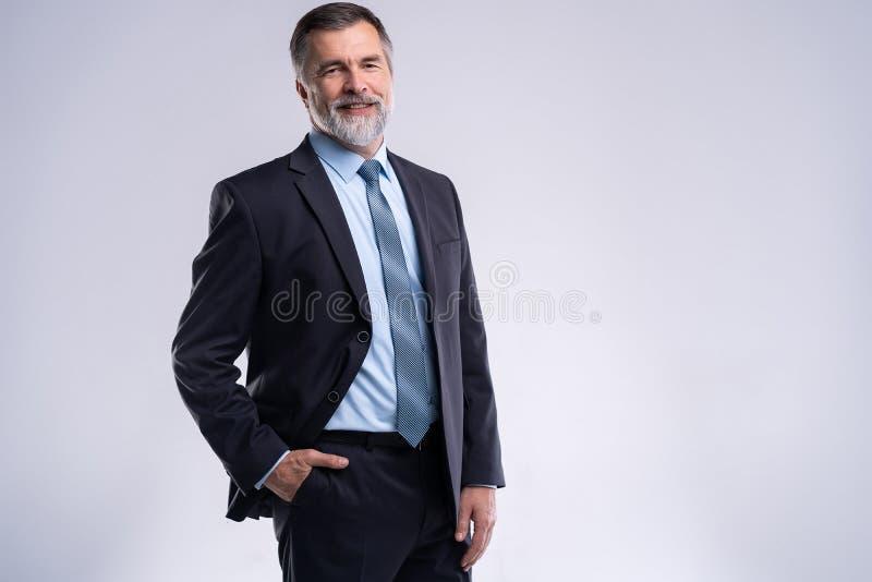 Hombre de negocios maduro satisfecho feliz que mira la cámara aislada en el fondo blanco fotografía de archivo