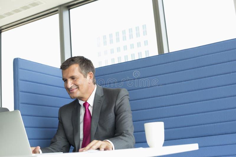 Hombre de negocios maduro sonriente usando el ordenador portátil en el escritorio foto de archivo libre de regalías
