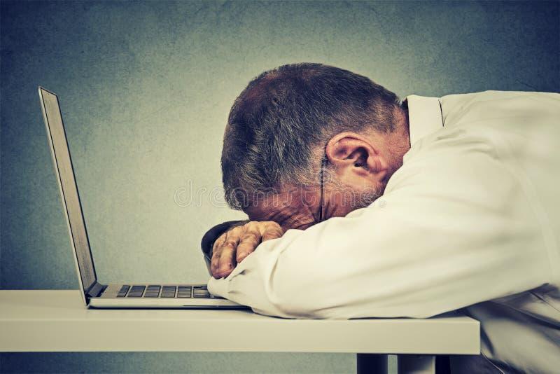 Hombre de negocios maduros lateral del perfil que duerme en un ordenador portátil imágenes de archivo libres de regalías