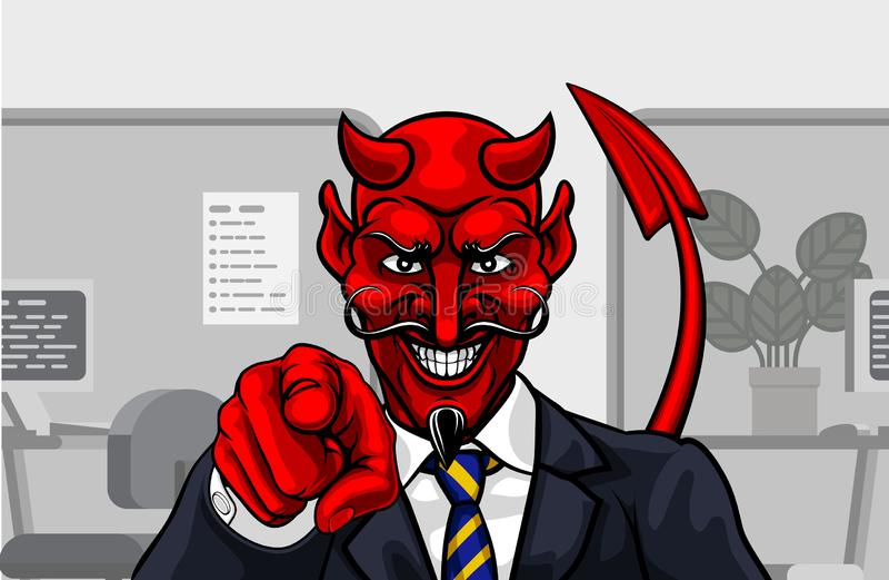 Hombre de negocios malvado del diablo en se?alar del traje ilustración del vector