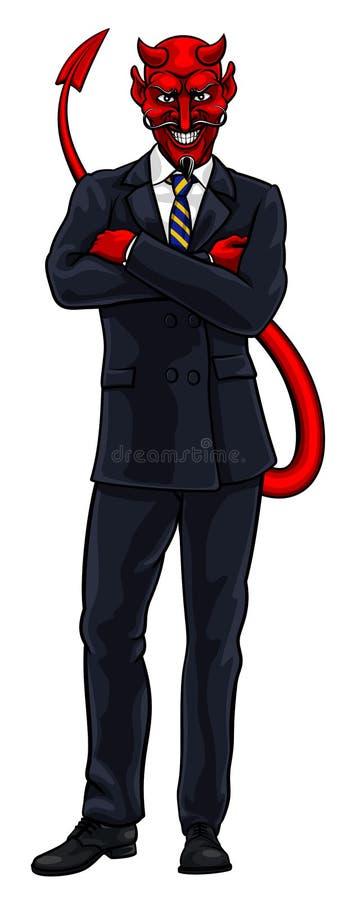 Hombre de negocios malvado del diablo en traje stock de ilustración
