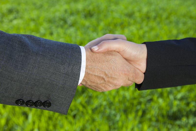 Hombre de negocios Man y empresaria Handshake Shaking Hands de la mujer imagen de archivo libre de regalías