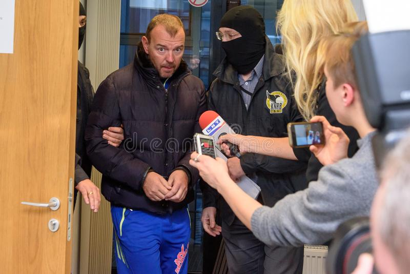 Hombre de negocios Maris Martinsons arrestada en Riga, Letonia fotografía de archivo