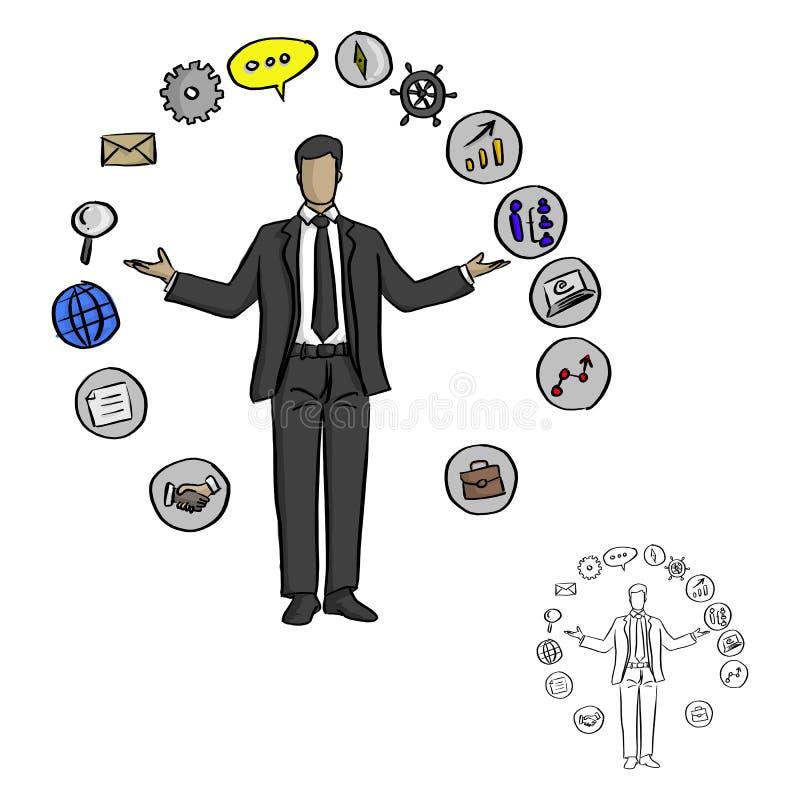 Hombre de negocios masculino con los iconos del negocio alrededor del ejemplo del vector stock de ilustración