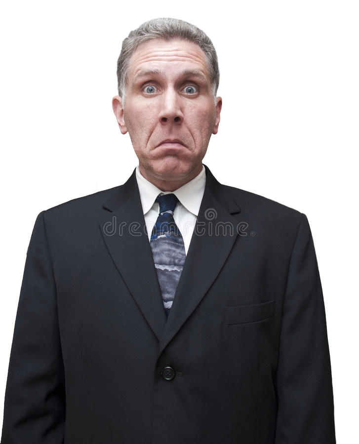 Hombre de negocios masculino del hombre triste infeliz aislado imágenes de archivo libres de regalías
