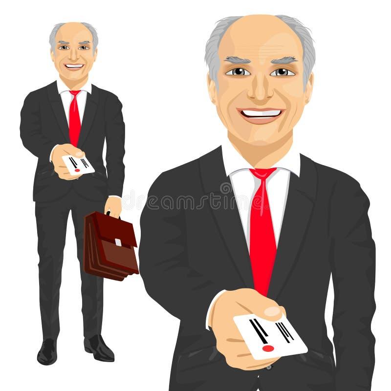 Hombre de negocios mayor con la cartera que da la tarjeta de visita ilustración del vector