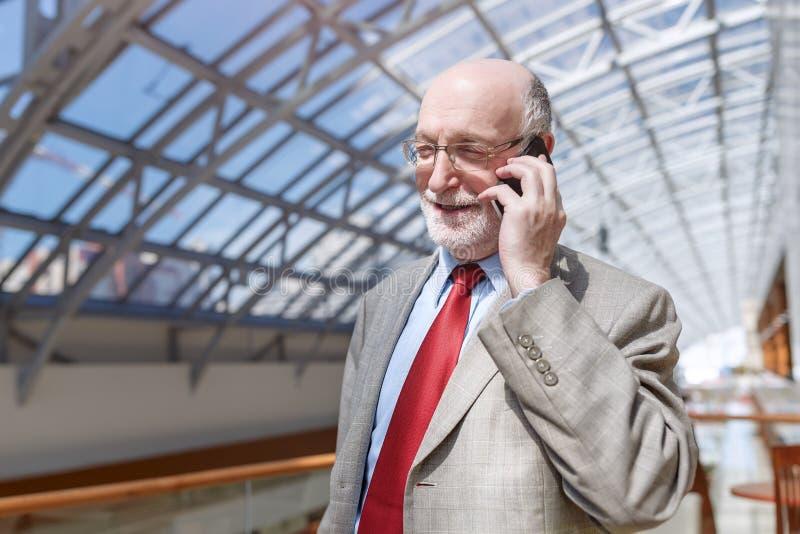 Hombre de negocios mayor que habla en el tel?fono foto de archivo libre de regalías