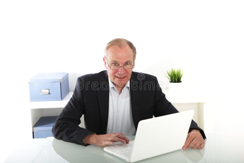 Hombre de negocios mayor que trabaja en la computadora portátil imagen de archivo libre de regalías