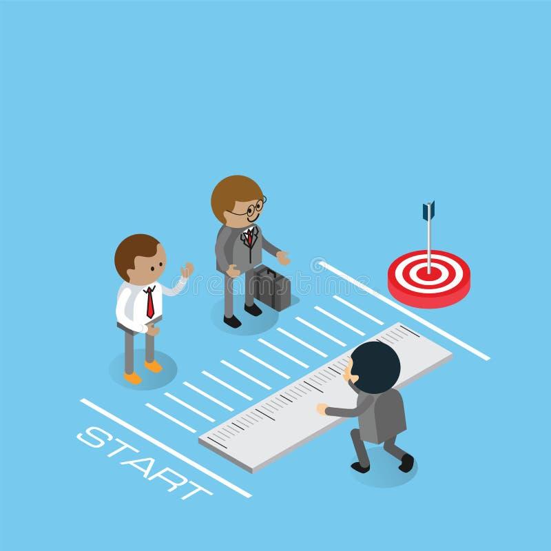Hombre de negocios Measuring Distance ilustración del vector