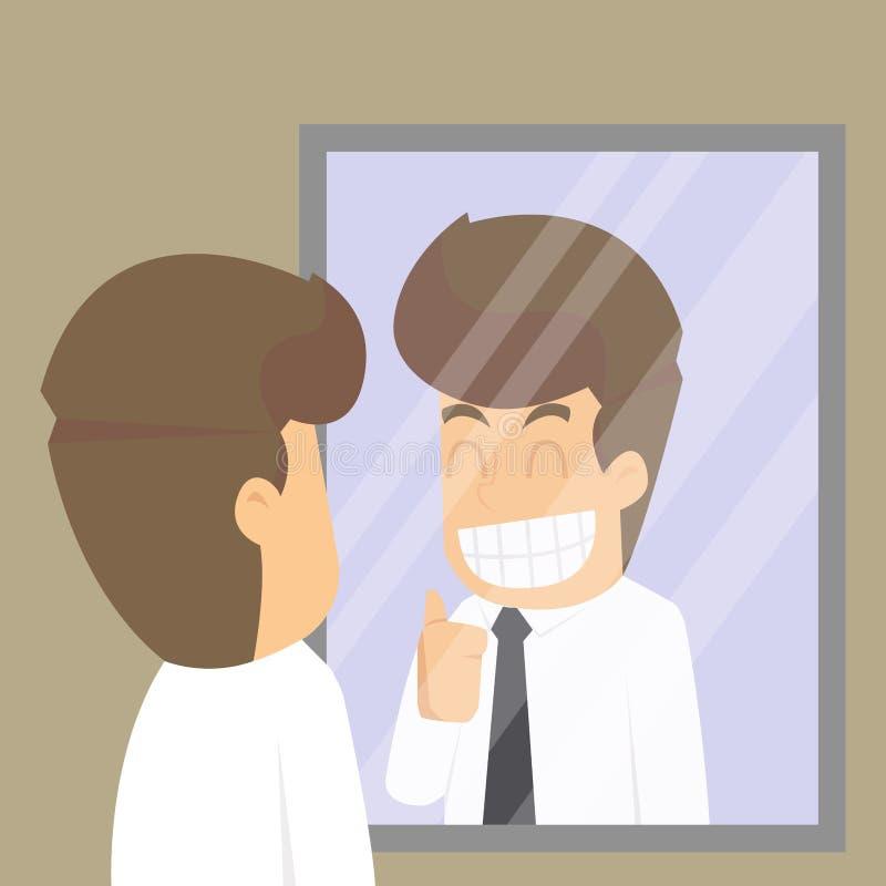 Hombre de negocios, mirada en el espejo para animarse, compromiso ilustración del vector