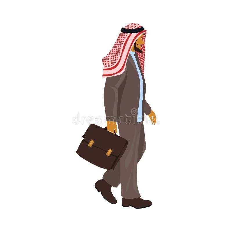 Hombre de negocios musulmán en el estado árabe, estilo elegante con el caso stock de ilustración