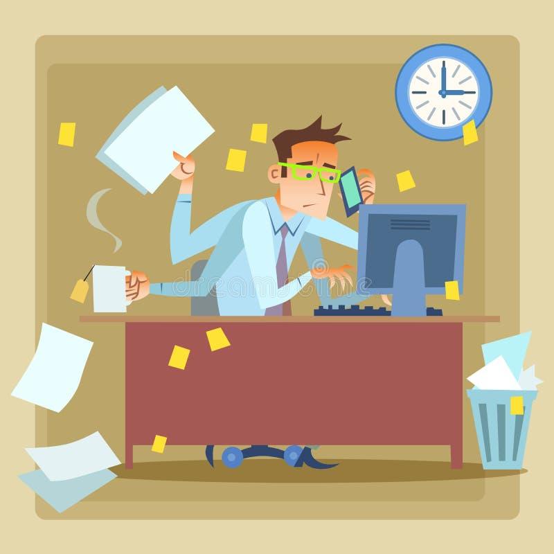 Hombre de negocios muy ocupado en el trabajo ilustración del vector