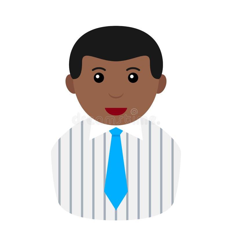 Hombre de negocios negro en el icono de Avatar del lazo de la camisa ilustración del vector