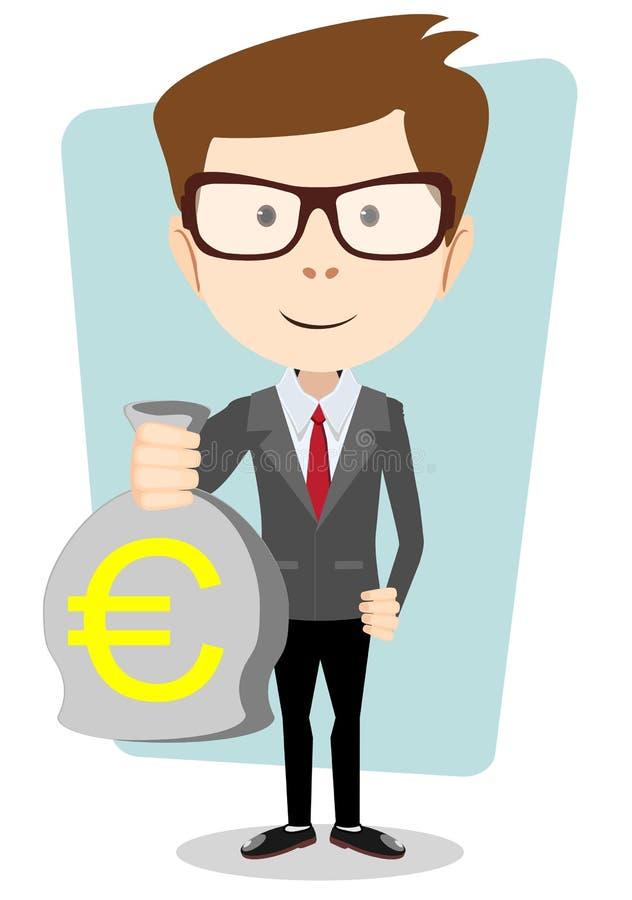 Hombre de negocios o banquero con un bolso del euro del efectivo del oro ilustración del vector