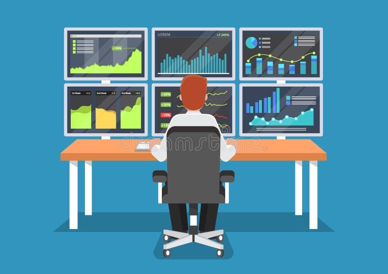 Hombre de negocios o comerciante del mercado de acción que trabaja en el escritorio ilustración del vector