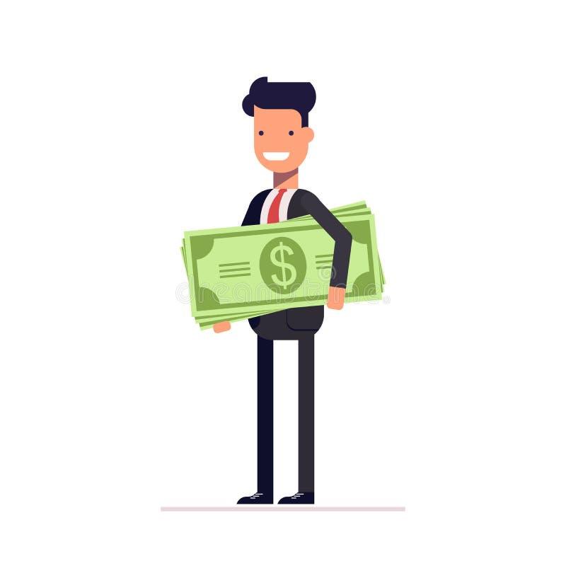 Hombre de negocios o encargado con el dinero a disposición El empleado recibió un sueldo El hombre lleva a cabo una gran cantidad libre illustration