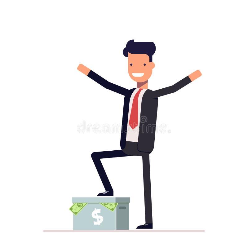 Hombre de negocios o encargado feliz que se coloca en una caja del cartón con el dinero Vector, ejemplo EPS10 ilustración del vector