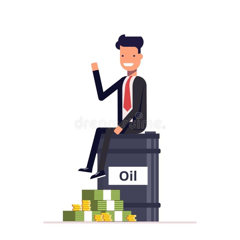 Hombre de negocios o encargado que se sienta en un barril de petróleo al lado del dinero del manojo Negocio los recursos naturale libre illustration