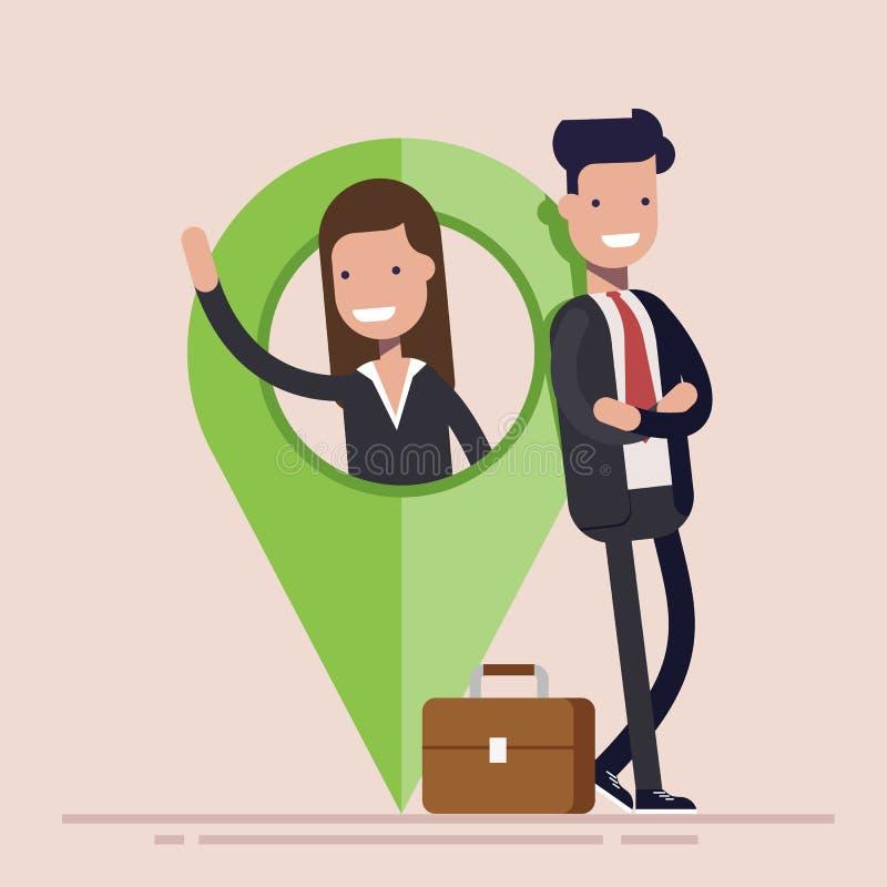 Hombre de negocios o encargado, hombre y mujer con el indicador del mapa Ubicación del negocio Ejemplo plano del vector libre illustration