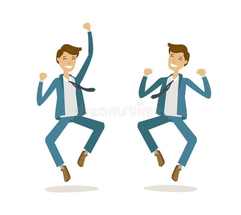 Hombre de negocios o estudiante acertado Suerte, éxito, concepto feliz Ilustración del vector de la historieta libre illustration